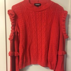 Red cold shoulder lightweight sweater.